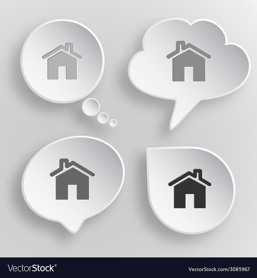Home white flat buttons on gray background vector | Price: 1 Credit (USD $1)