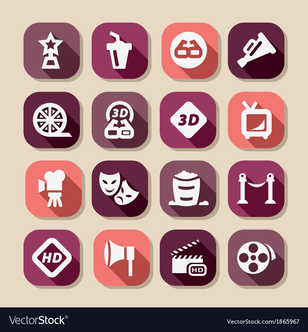 Movie long shadows icons vector | Price: 1 Credit (USD $1)