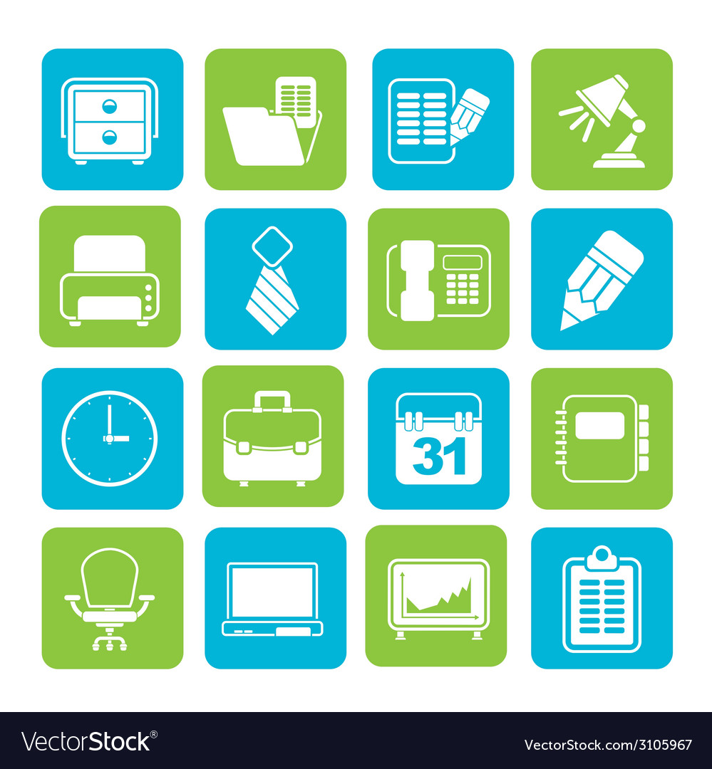 Silhouette business and office equipment icons vector | Price: 1 Credit (USD $1)