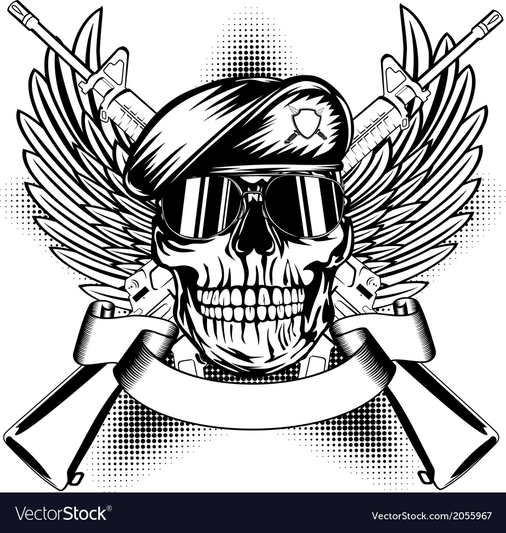 Skull in beret and two automatic guns vector | Price: 1 Credit (USD $1)