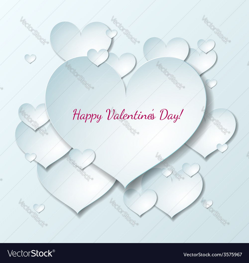 Valentines day card with paper hearts vector | Price: 1 Credit (USD $1)