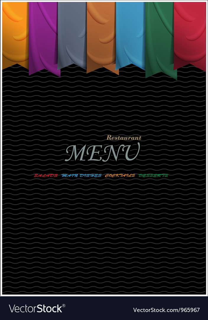 Vertical menu card design with ribbons vector | Price: 1 Credit (USD $1)