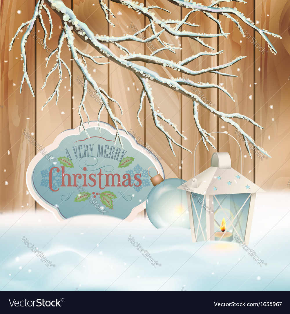 Vintage christmas snow branch lantern background vector | Price: 3 Credit (USD $3)
