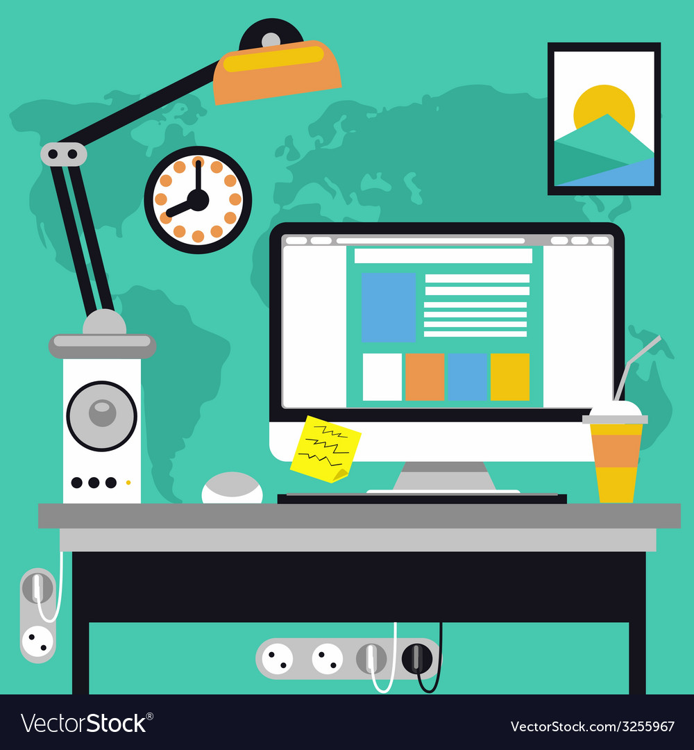 Workplace with computer and map on background vector | Price: 1 Credit (USD $1)