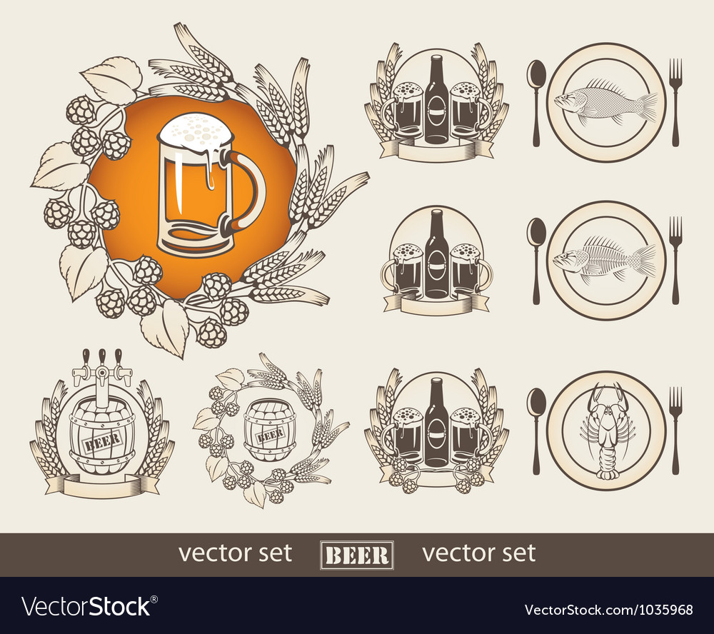 Beer and a fish vector | Price: 1 Credit (USD $1)
