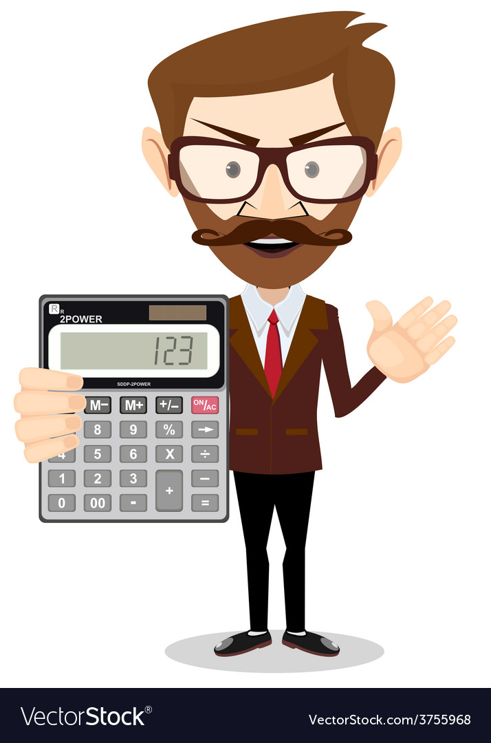 Businessman or accountant with a calculator vector | Price: 1 Credit (USD $1)