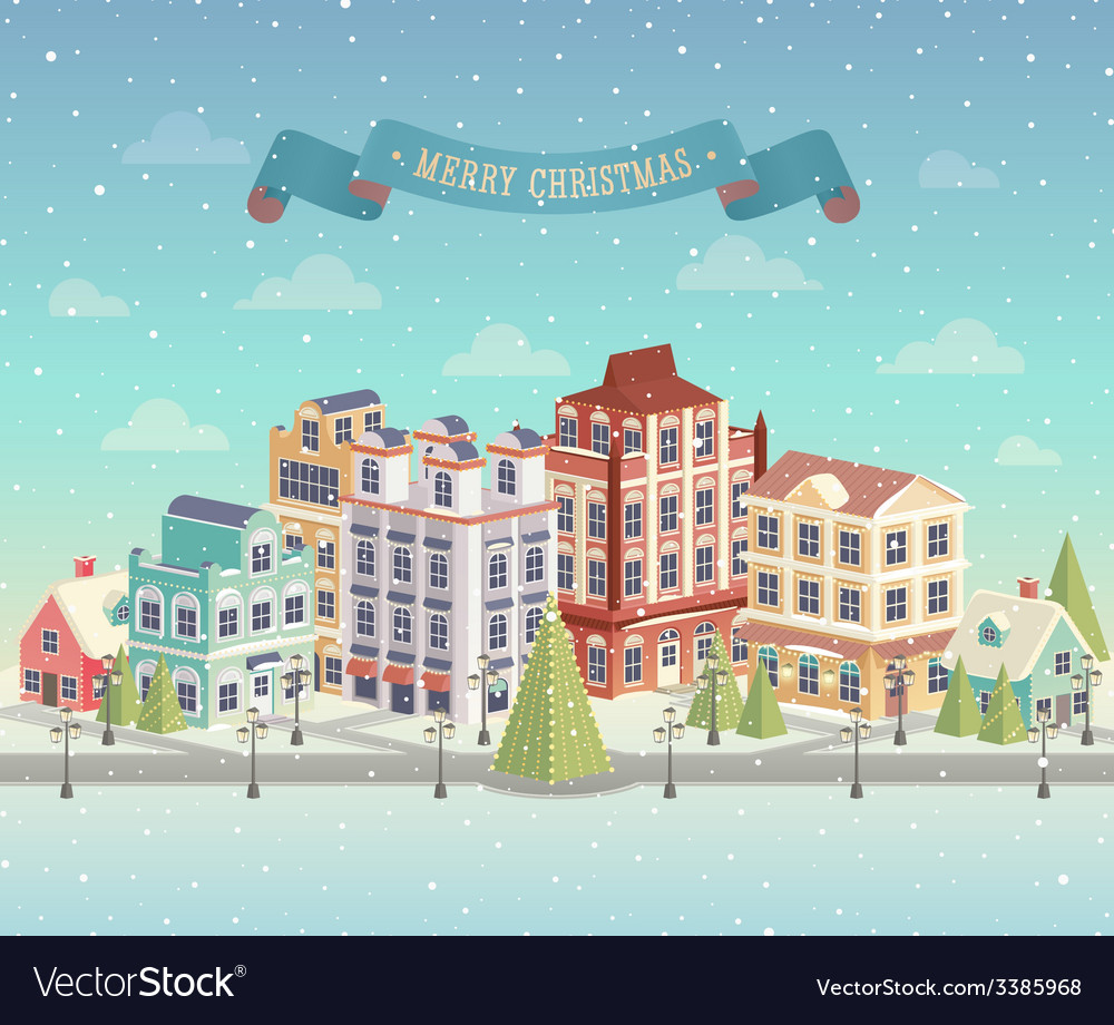 Christmas day city vector | Price: 3 Credit (USD $3)