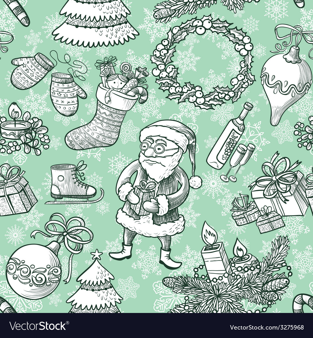 Christmas sketchy seamless vector | Price: 1 Credit (USD $1)