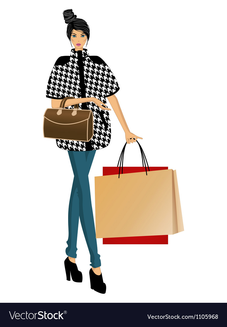 Fashion lady with bags vector