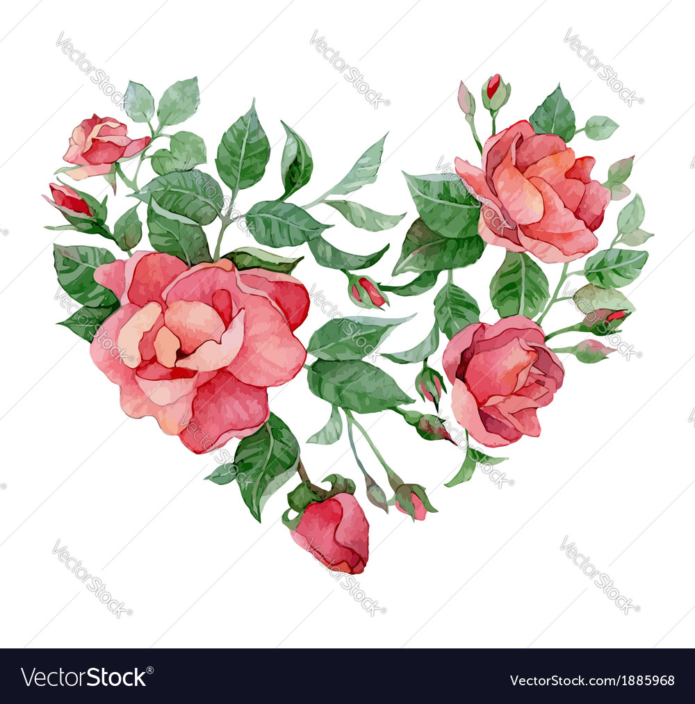 Floral abstract heart of roses vector | Price: 1 Credit (USD $1)