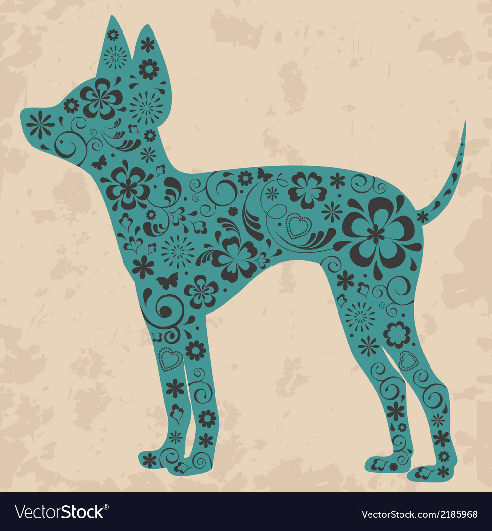 Floral russian toy terrier vector | Price: 1 Credit (USD $1)