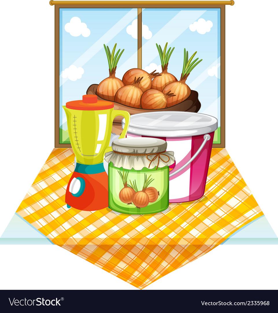 Onions near the window vector   Price: 1 Credit (USD $1)