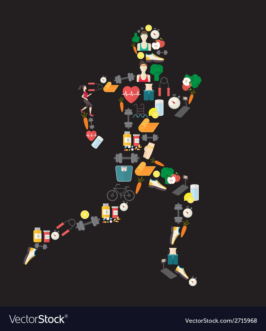 Running man silhouette filled with sport icons on vector | Price: 1 Credit (USD $1)