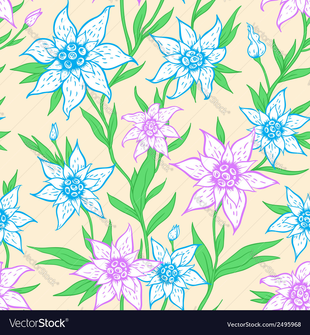 Seamless pattern with blue flowers vector | Price: 1 Credit (USD $1)