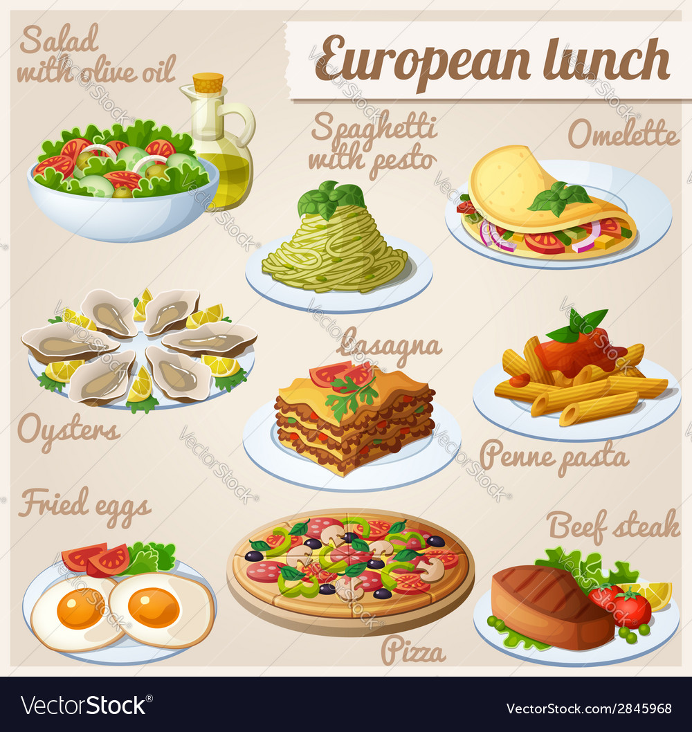 Set of food icons european lunch vector | Price: 3 Credit (USD $3)