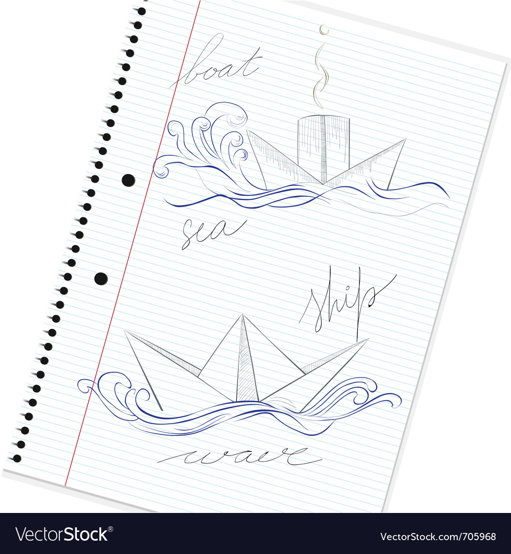 Sketch of hand drawn ship vector | Price: 1 Credit (USD $1)