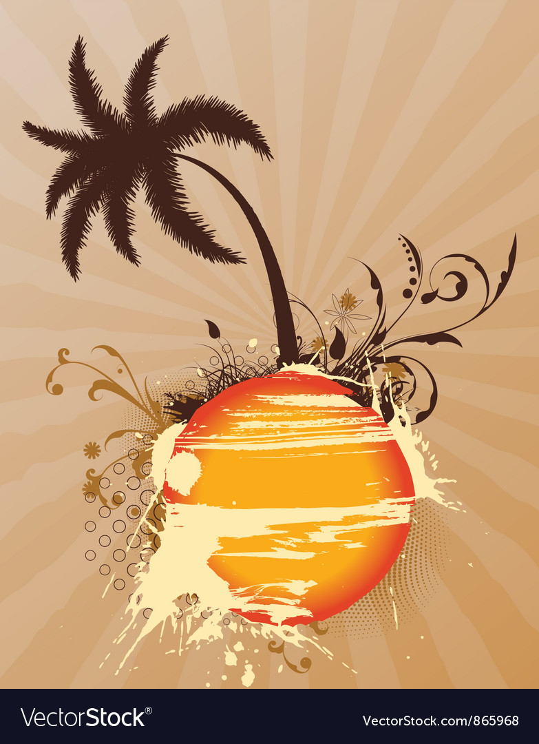 Vintage summer background with palm tree vector | Price: 1 Credit (USD $1)