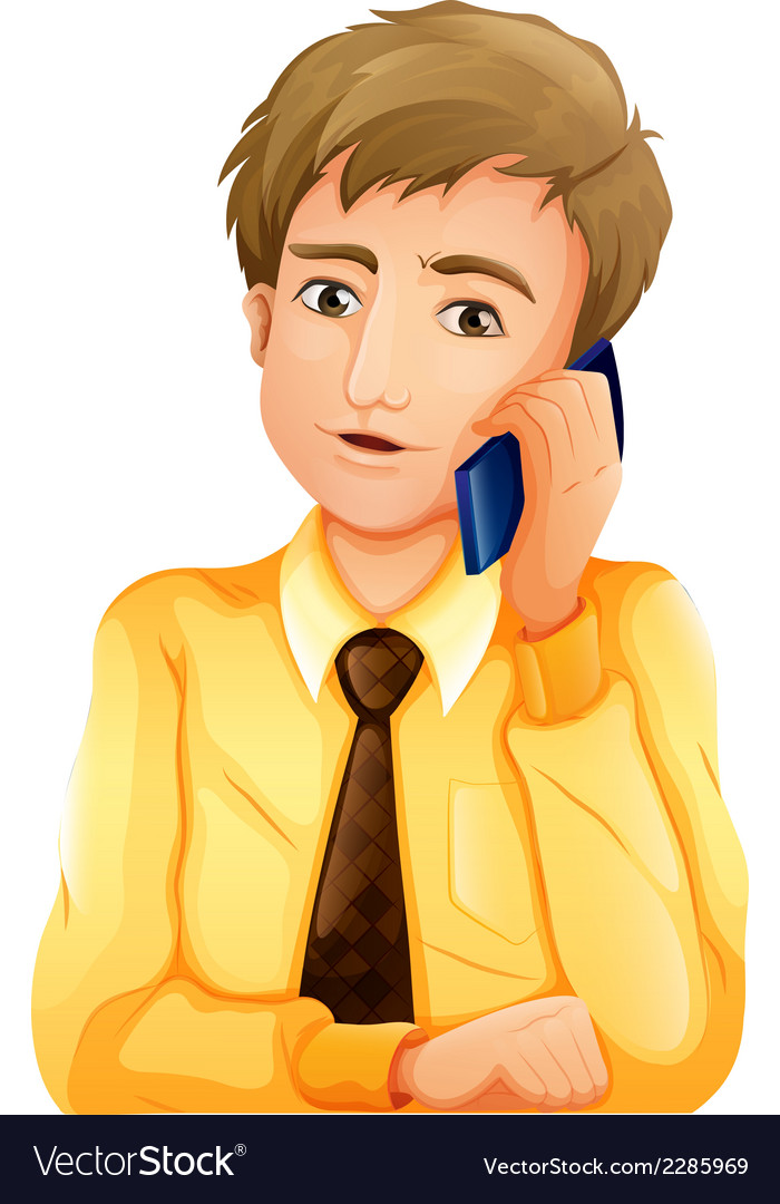 A businessman using a cellular phone vector | Price: 1 Credit (USD $1)