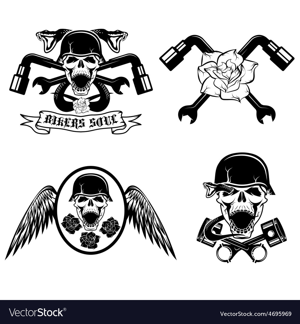 Biker theme labels with pistonsflowerswingssnakes vector | Price: 1 Credit (USD $1)
