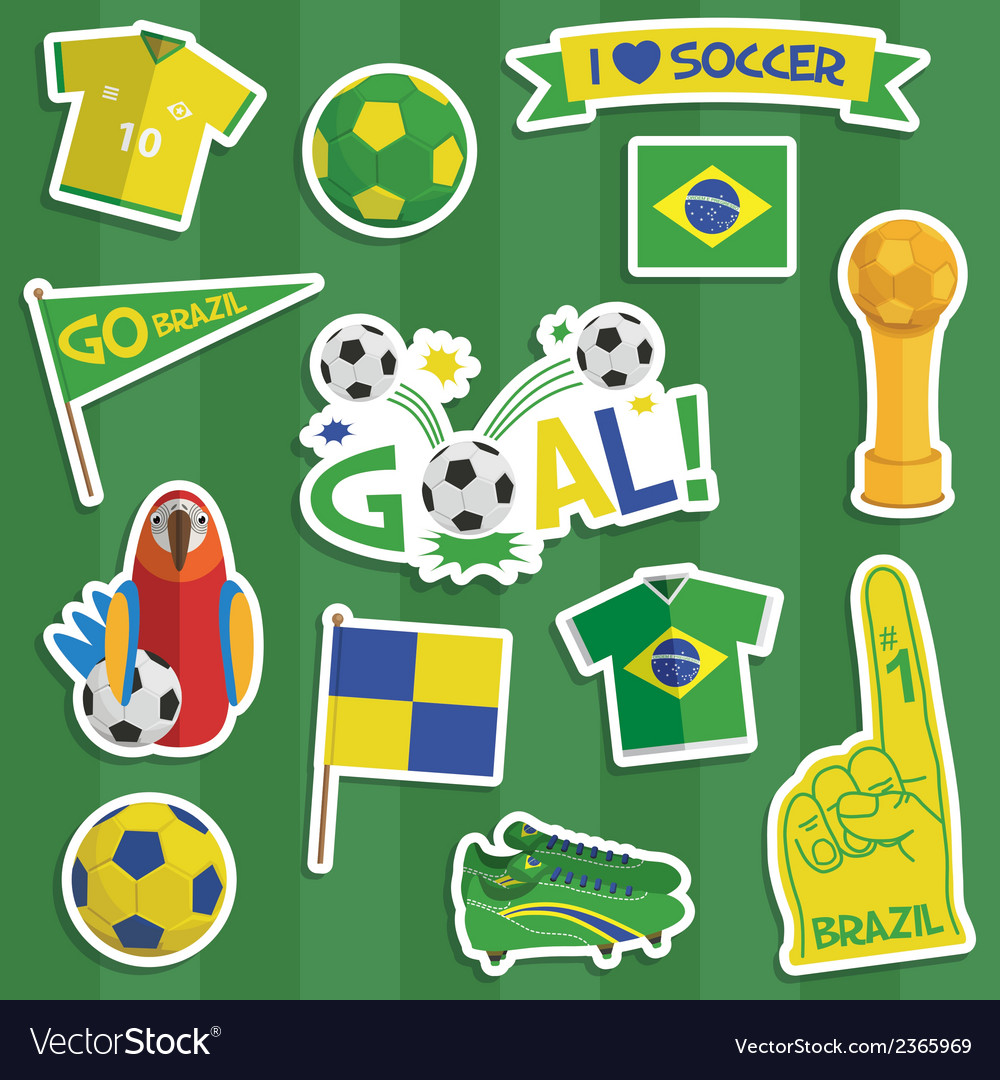 Brazil soccer stickers vector   Price: 1 Credit (USD $1)