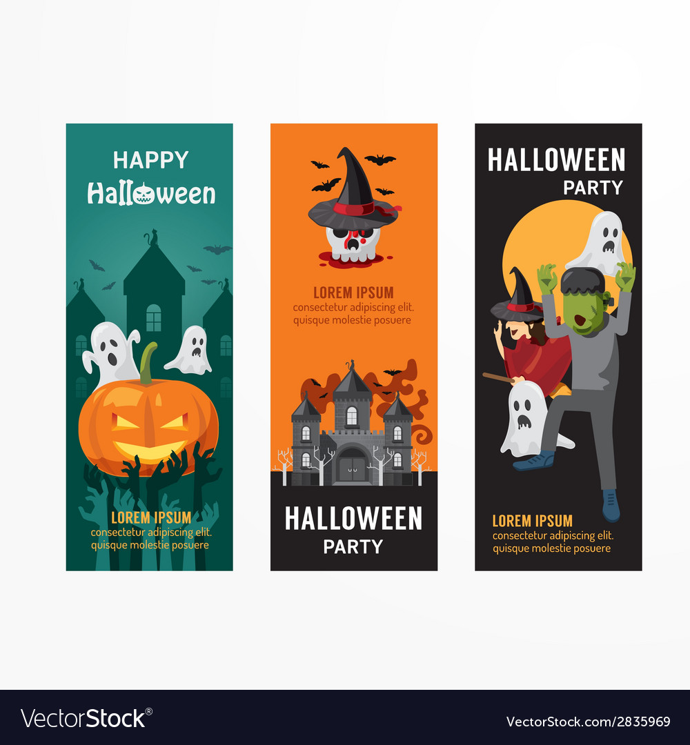 Halloween day party banner template design vector | Price: 1 Credit (USD $1)