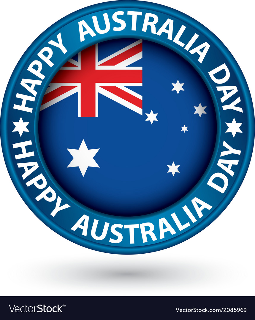 Happy australia day blue label vector | Price: 1 Credit (USD $1)