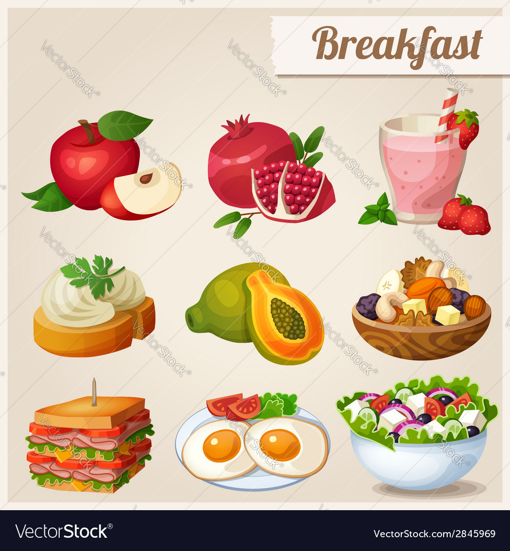 Set of different food icons breakfast vector