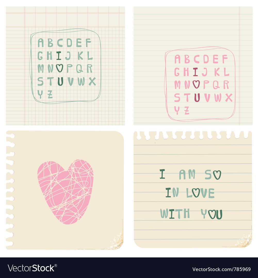 Set of hand-written love cards vector | Price: 1 Credit (USD $1)