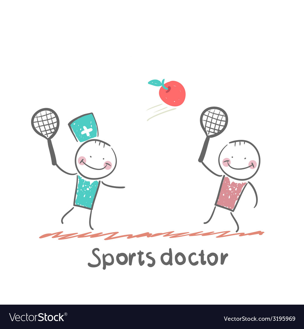 Sports doctor plays with a man in badminton apple vector | Price: 1 Credit (USD $1)