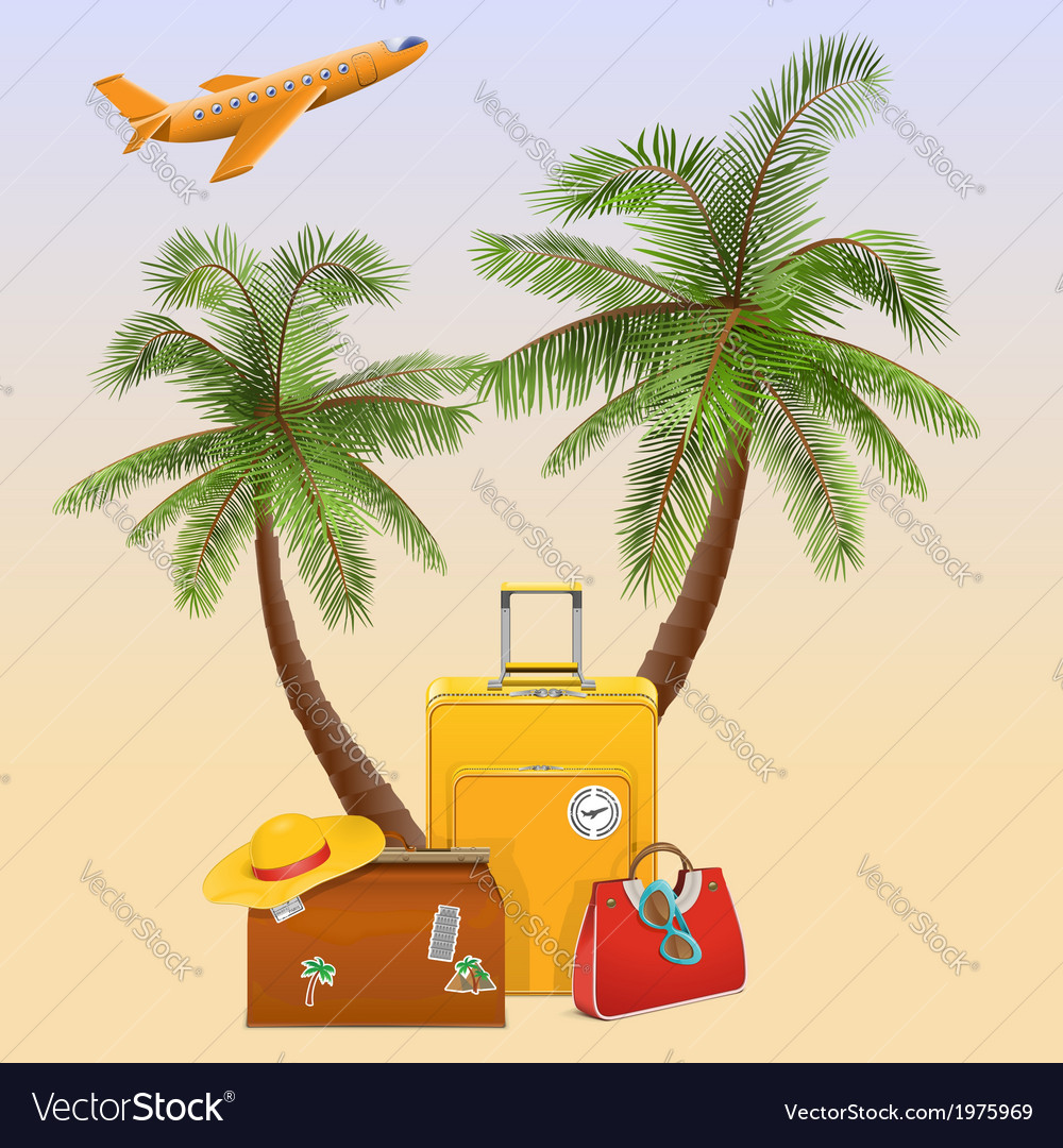 Travel concept with palm vector | Price: 1 Credit (USD $1)