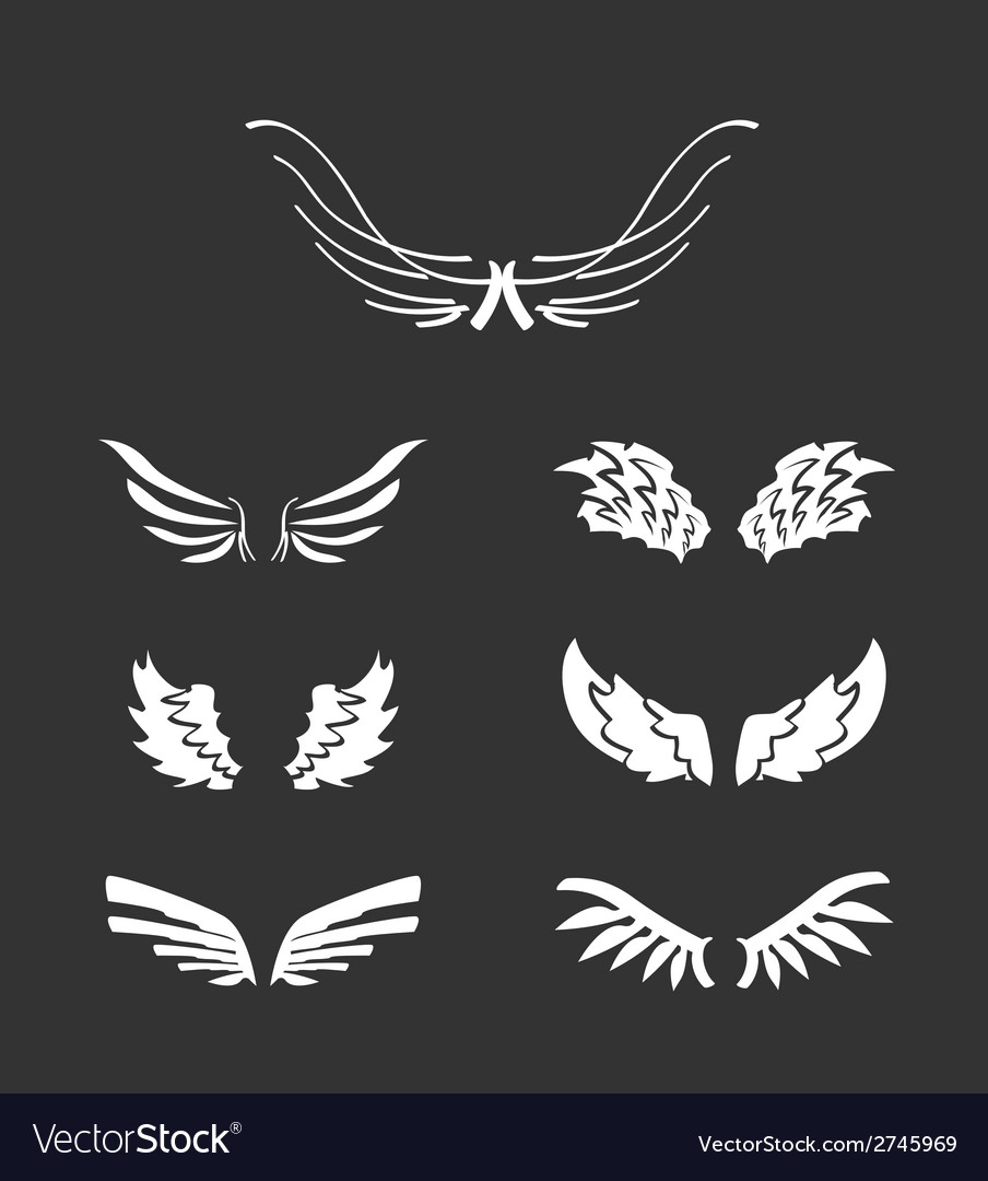 White wings collection vector | Price: 1 Credit (USD $1)