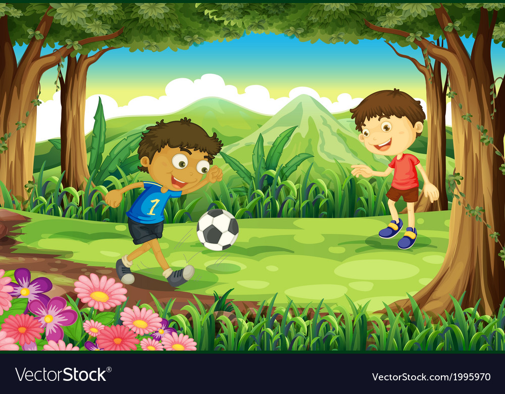 A forest with two boys playing soccer vector | Price: 3 Credit (USD $3)