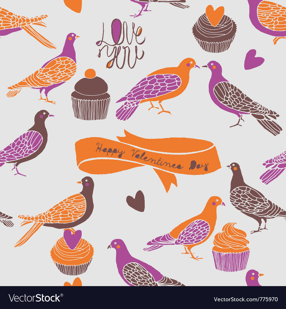 Birds and cupcake love vector | Price: 1 Credit (USD $1)