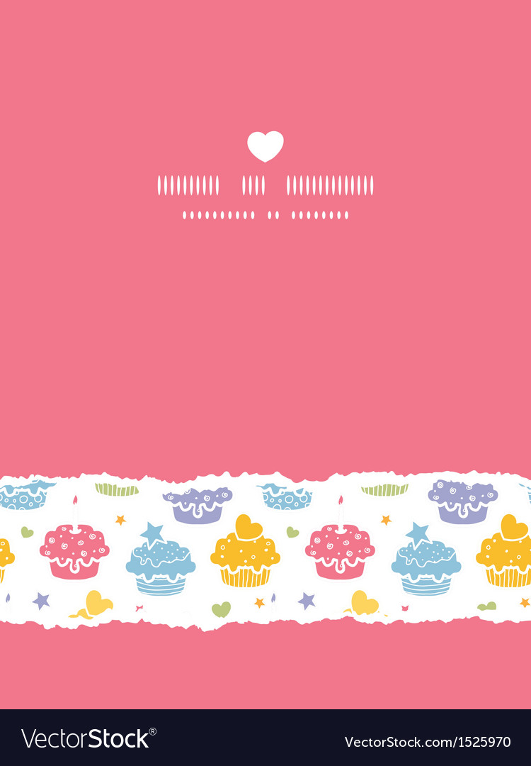 Colorful cupcake party vertical torn seamless vector | Price: 1 Credit (USD $1)