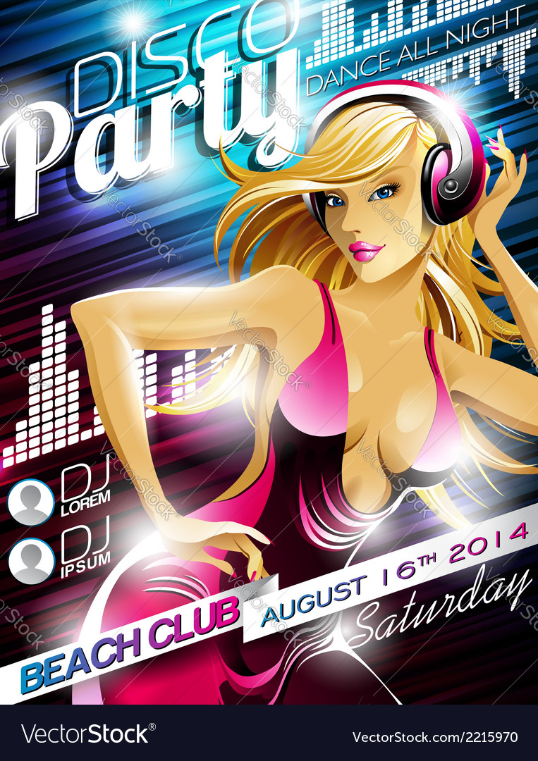 Disco party flyer design with sexy girl and headph vector | Price: 3 Credit (USD $3)