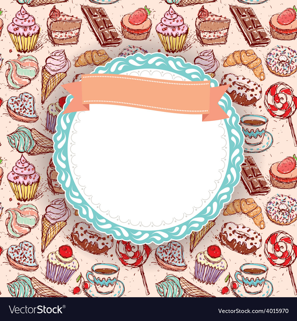 Hand drawn confectionery seamless pattern vector