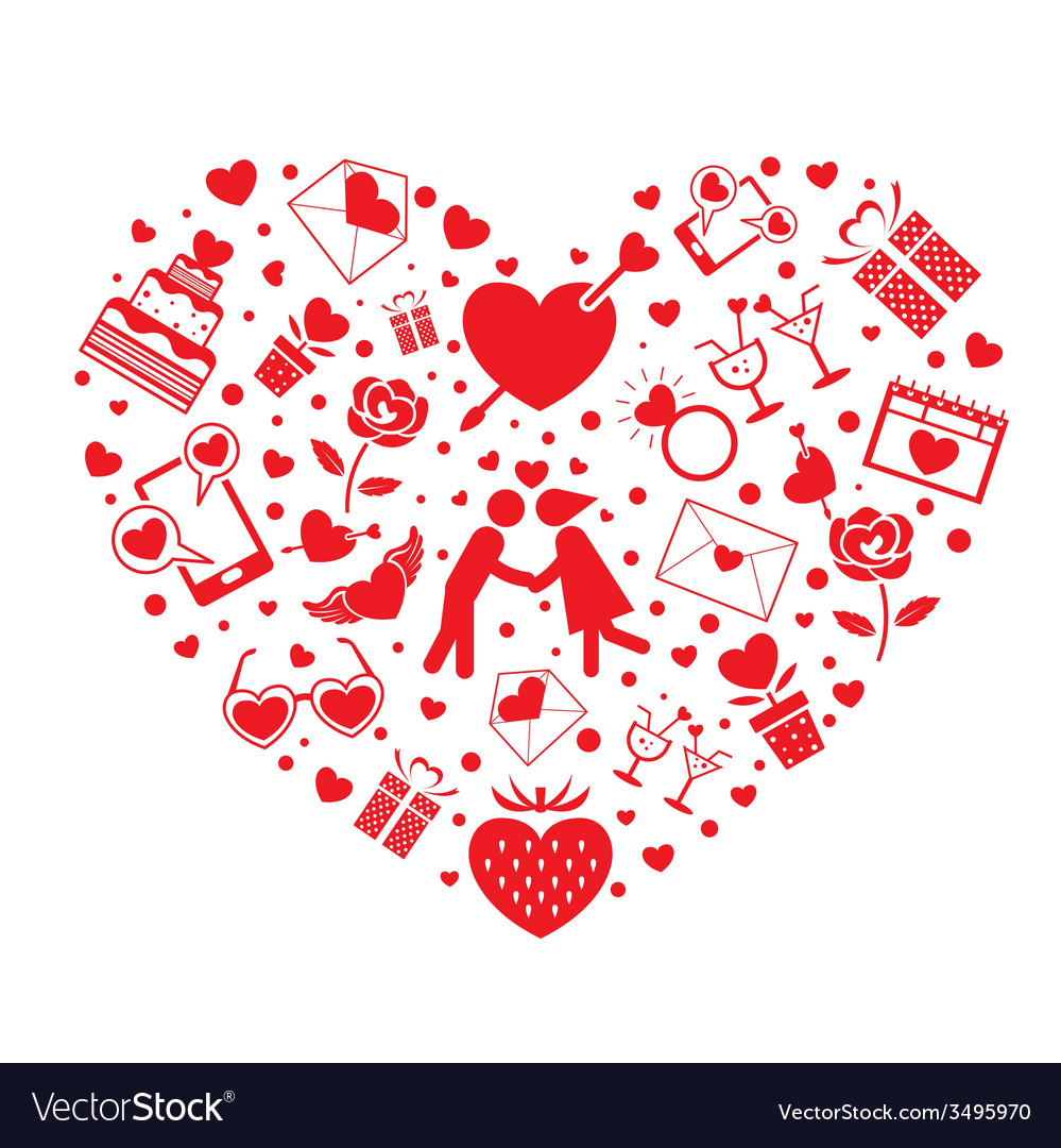 Love icons in heart shape vector | Price: 1 Credit (USD $1)
