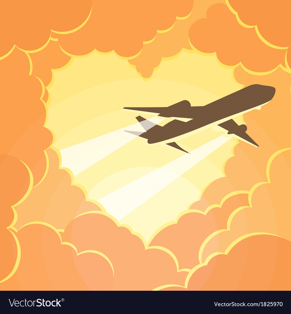 Plane flies through the clouds in shape of heart vector | Price: 1 Credit (USD $1)