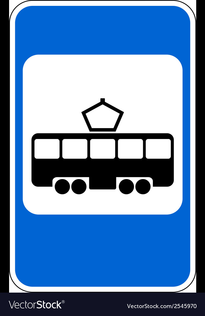 Road sign tram stop vector | Price: 1 Credit (USD $1)