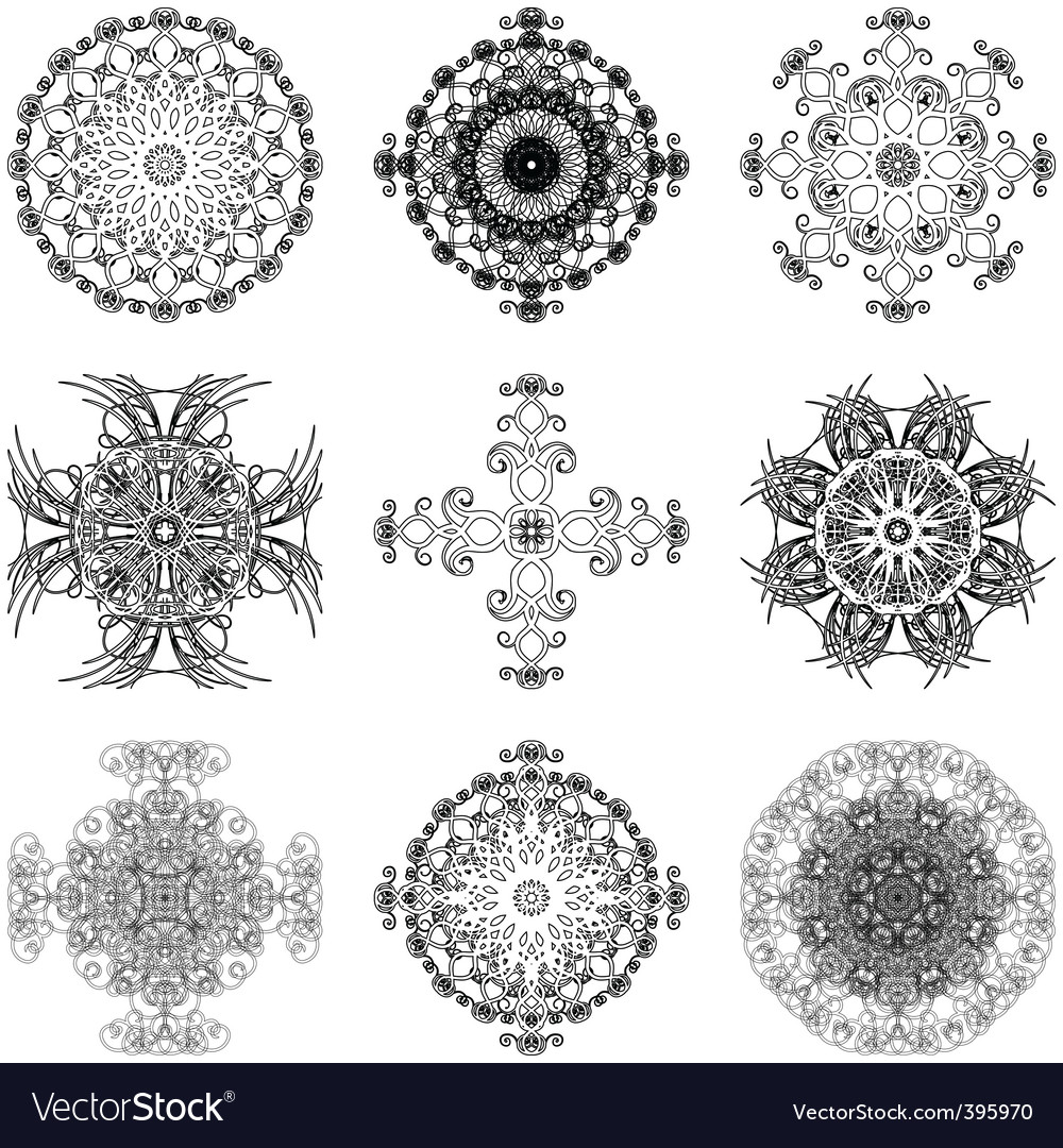 Set of decorative elements vector | Price: 1 Credit (USD $1)