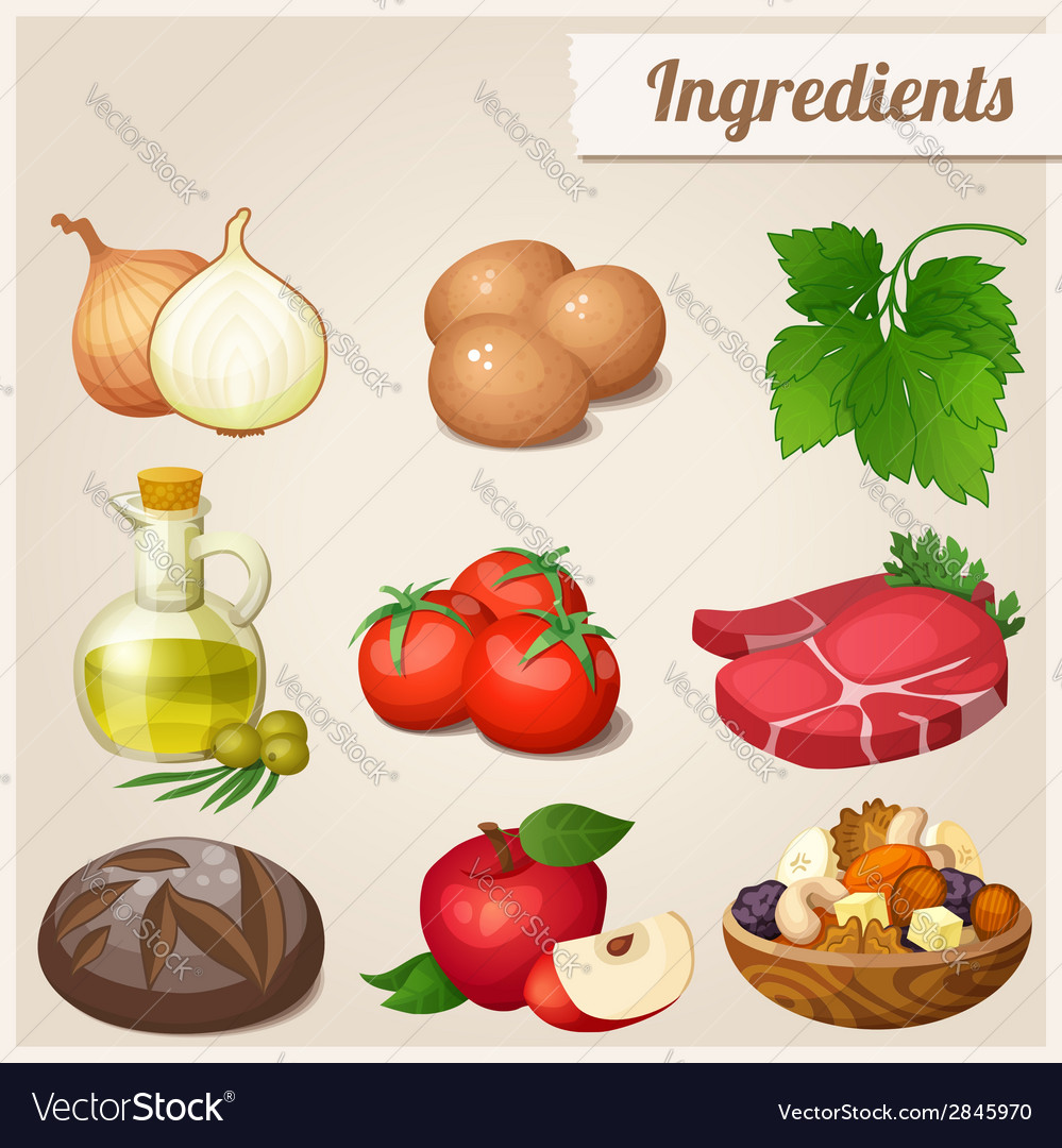Set of food icons ingredients vector | Price: 3 Credit (USD $3)
