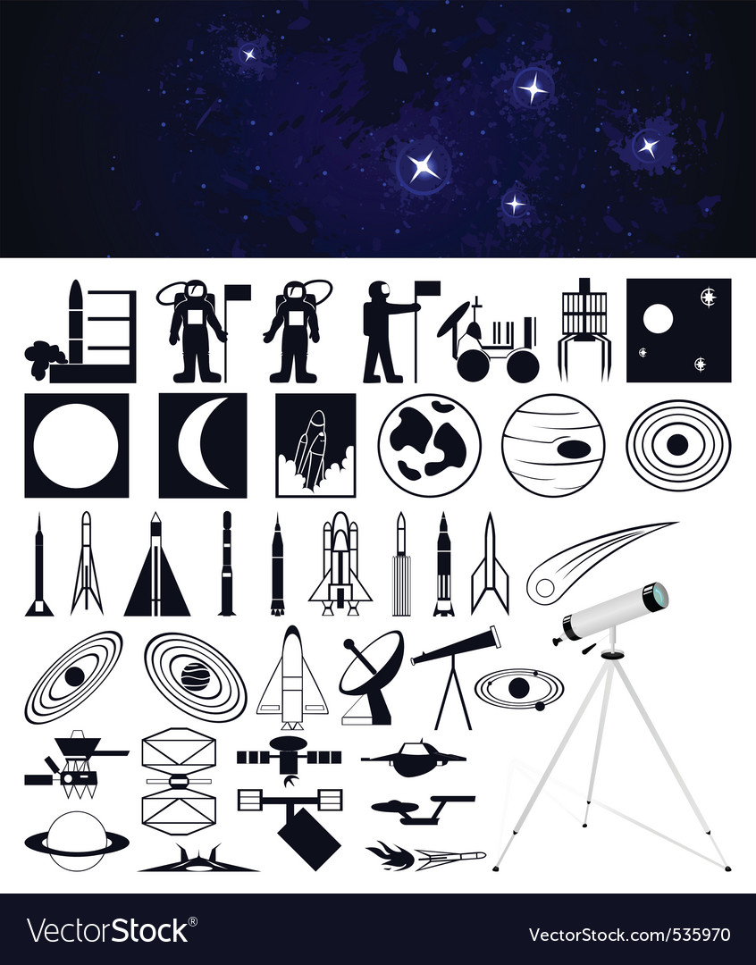 Space travel design elements vector | Price: 1 Credit (USD $1)