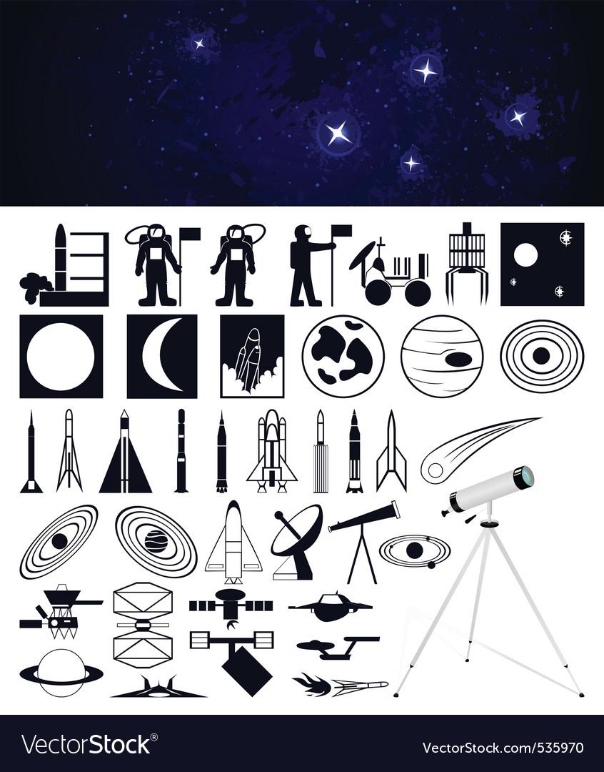 Space travel design elements vector | Price: 1 Credit (USD $1)