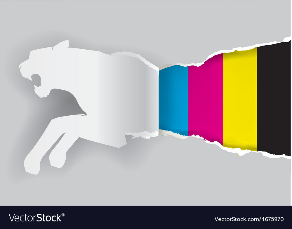 Tiger ripping paper with print colors vector | Price: 1 Credit (USD $1)