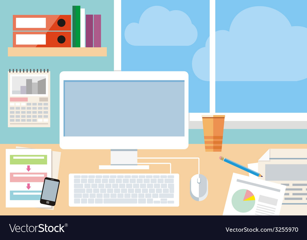 Workplace with computer smartphone and window vector | Price: 1 Credit (USD $1)