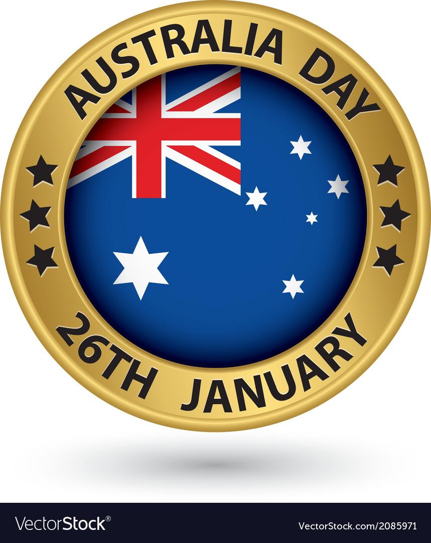 Australia day gold label vector   Price: 1 Credit (USD $1)