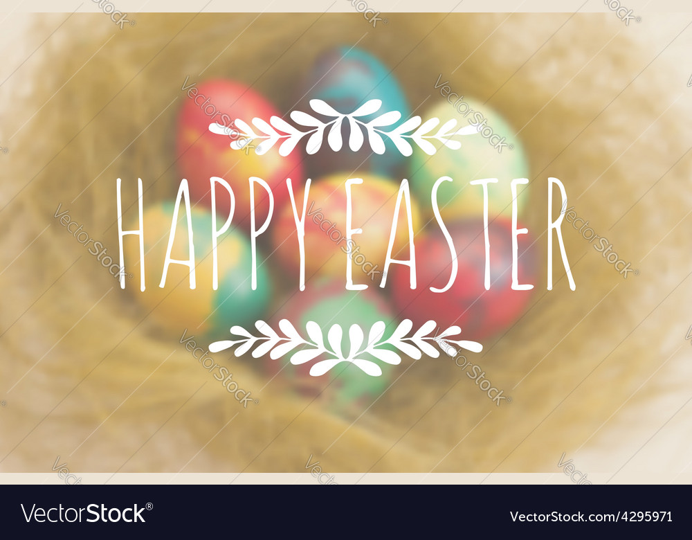 Easter greetings on a blurred background with vector   Price: 1 Credit (USD $1)