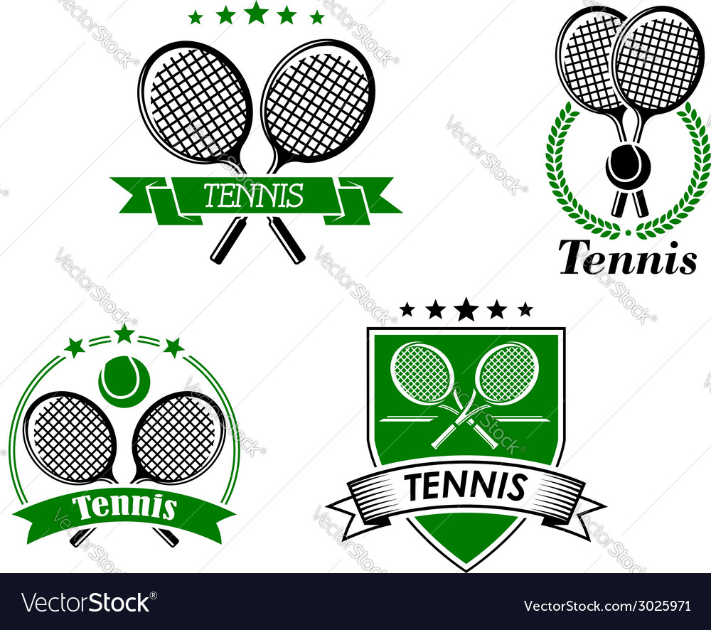 Four tennis badges and emblems vector | Price: 1 Credit (USD $1)