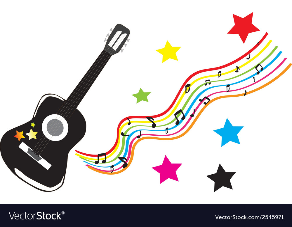 Guitar with colored stars vector | Price: 1 Credit (USD $1)