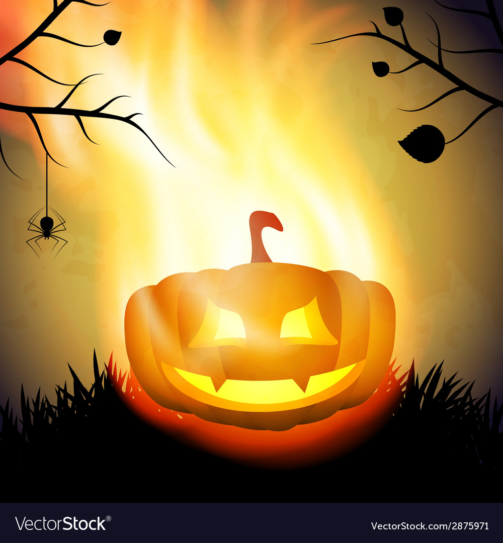 Halloween background with burning pumpkin vector | Price: 1 Credit (USD $1)